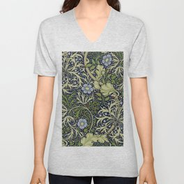 William Morris Seaweed Pattern Unisex V-Neck