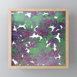 Hand painted abstract gold purple jade green foliage greenery  Framed Mini Art Print
