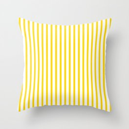 Yellow & White Vertical Stripes Throw Pillow