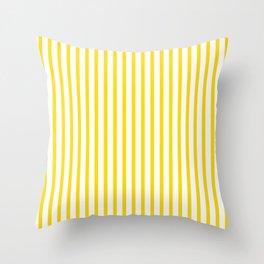 Yellow & White Vertical Stripes Throw Pillow