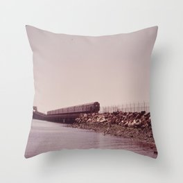 NEW YORK SUBWAY IS ABOVE GROUND WHEN IT CROSSES JAMAICA BAY AREA Throw Pillow
