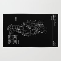 nasa Area & Throw Rugs featuring NASA Space Suit Patent - White on Black by Elegant Chaos Gallery