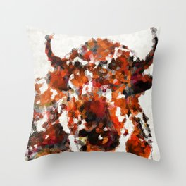 Modern Red Buffalo Art By Sharon Cummings Throw Pillow