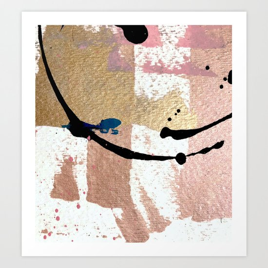 01014: pink, gold, and white abstract by blushingbrushstudio