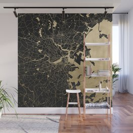 Boston Gold and Black Invert Wall Mural