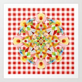 Red Gingham Pastel Mandala Art Print