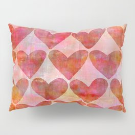red Hearts mixed media pattern Pillow Sham