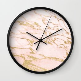 Blush pink abstract gold glitter marble Wall Clock