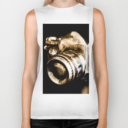 Candid Thoughts: A Modern Silver and Gold Camera Biker Tank