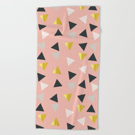 Gold triangles multi Beach Towel