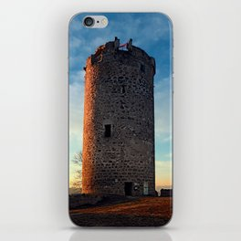 The tower of Waxenberg castle in the sunset | architectural photography iPhone Skin