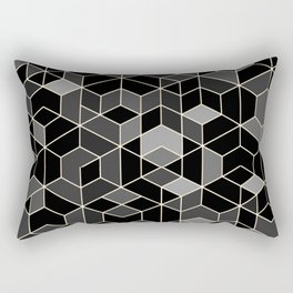 Black geometry / hexagon pattern Rectangular Pillow