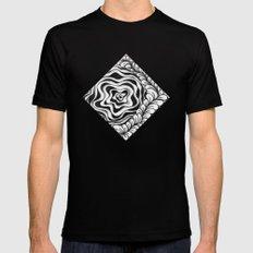 Doodled Rose & Vine Black Mens Fitted Tee MEDIUM