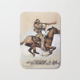 "Frederic Remington ""Buffalo Hunter Spitting Bullets"" Western Art Bath Mat"