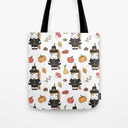 cartoon thanksgiving pattern with pilgrim unicorns, pumpkins, apples, pears, leaves and acorns Tote Bag