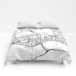 Shenzhen Map, China - Black and White  Comforters