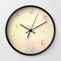 unicorns Wall Clocks featuring Unicorns by Bloody Diamonds Shop