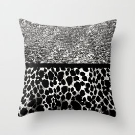 Animal Print Leopard Silver and Black Throw Pillow