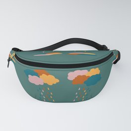 Colorful clouds and rain drops pattern Fanny Pack