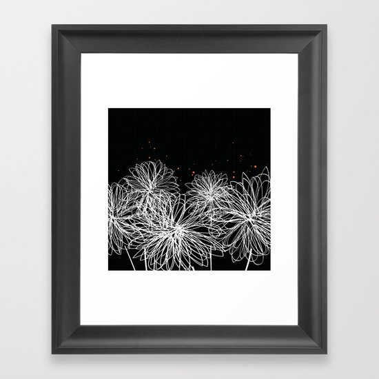 Black Doodle Floral by Friztin Framed Art Print