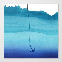 Cute Sinking Anchor in Sea Blue Watercolor Canvas Print