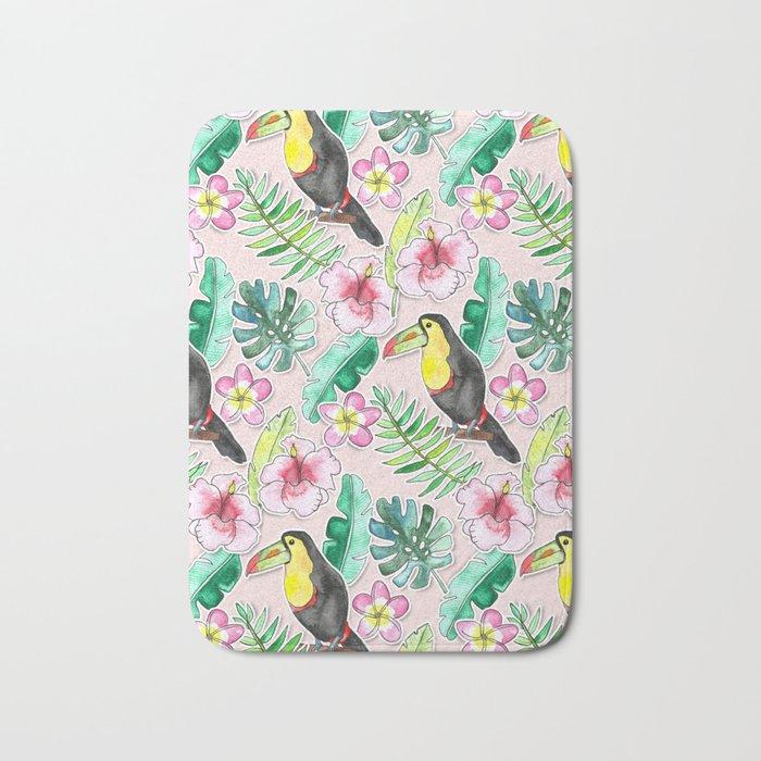 Tropical Toucan Paper-Cut Floral Bath Mat
