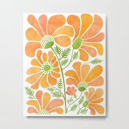 Happy California Poppies / hand drawn flowers Metal Print
