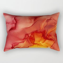 Red Sunset Abstract Ink Painting Red Orange Yellow Flame Rectangular Pillow