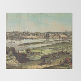 Aerial View of St. Paul, Minnesota (1874) Throw Blanket