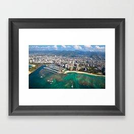 Aerial View of Waikiki Beach Framed Art Print