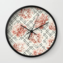 Simply Mod Diamond Roses in Cream and Black Wall Clock