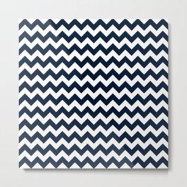 CHEVRON DESIGN (NAVY BLUE-WHITE) Metal Print