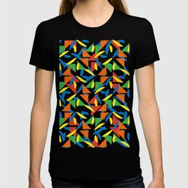 Ornaments damask seamless yellow orange green red blue dots triangles decorative graphic vector pattern-06 T-shirt