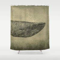 damask Shower Curtains featuring Damask Whale  by Terry Fan
