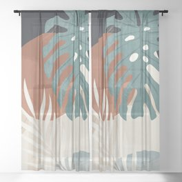 Abstract Art Tropical Leaves  Sheer Curtain