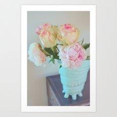 Peony and Roses Art Print