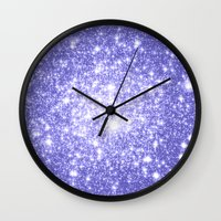 lavender Wall Clocks featuring Lavender Periwinkle Sparkle Stars by Whimsy Romance & Fun