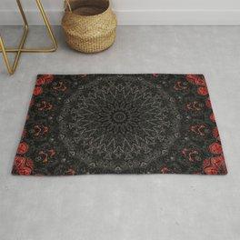Red and Black Bohemian Mandala Design Rug