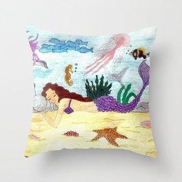 Mermaid sleeping Throw Pillow