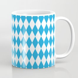 Oktoberfest Bavarian Blue and White Large Diagonal Diamond Pattern Coffee Mug