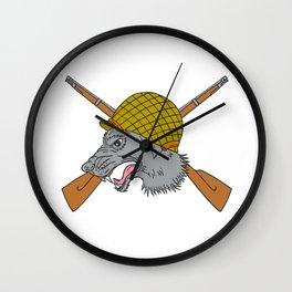 Grey Wolf Head World War 2 Helmet Drawing Wall Clock