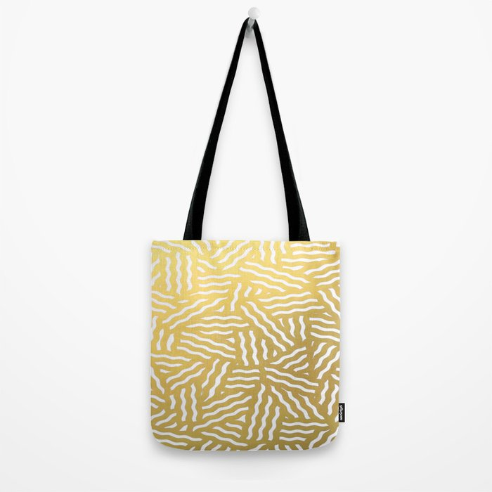 Gold Foil Brushstroke Watercolor Ink Lines Stripes Classic Pattern Tote Bag
