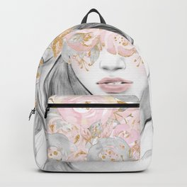 She Wore Flowers in Her Hair Rose Gold by Nature Magick Backpack