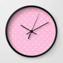 White on Cotton Candy Pink Snowflakes Wall Clock