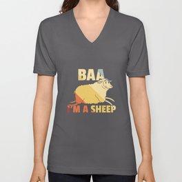 Sheep domestic Lamb Bock Vintage Retro Unisex V-Neck