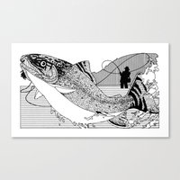 trout Canvas Prints featuring Trout by David Chestnutt