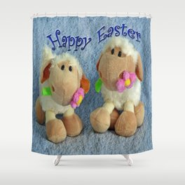 Happy Easter Lambs Shower Curtain