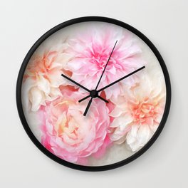 pastel peonies Wall Clock