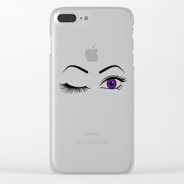 Violet Wink (Left Eye Open) Clear iPhone Case