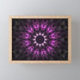 Mandala of simplified tulips Framed Mini Art Print